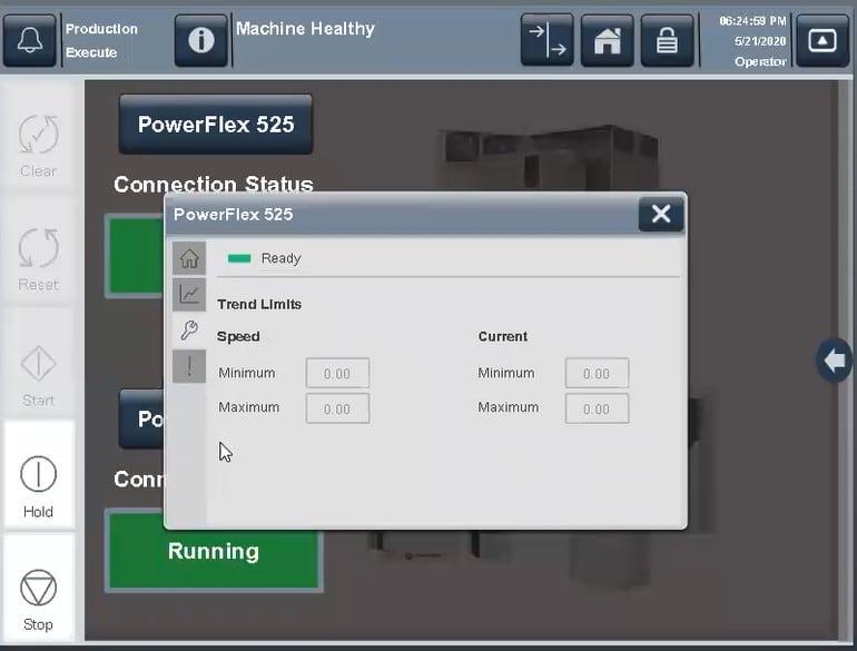 View 5000 Emulator Maintenance screen with minimum and maximum speeds