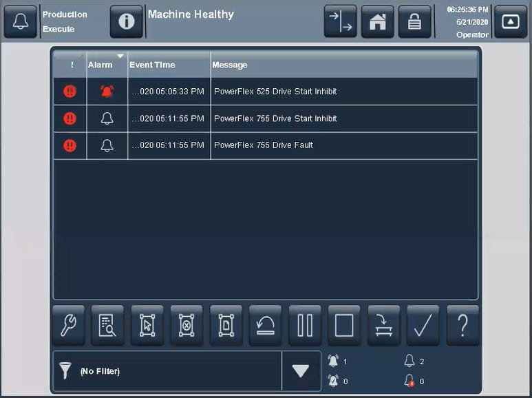 PanelView 5000 Alarm Summary screen showing Drive Start Inhibit and Drive Fault