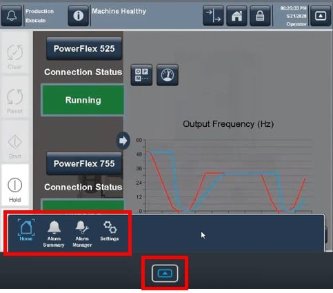 PanelView 5000 - access an Alarm Summary, Alarm Manager, Settings