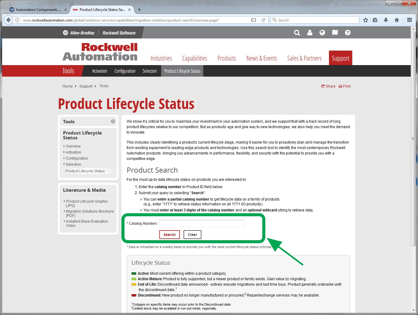 Rockwell Automation Product LIfecycle Part Number Page