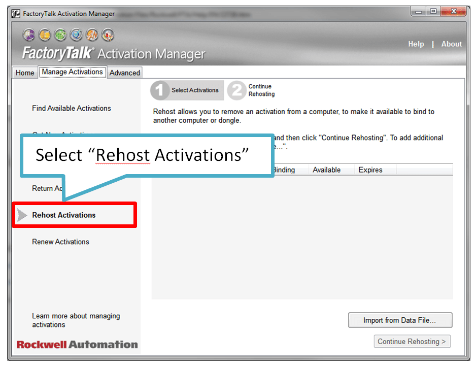 Select Rehost Activations