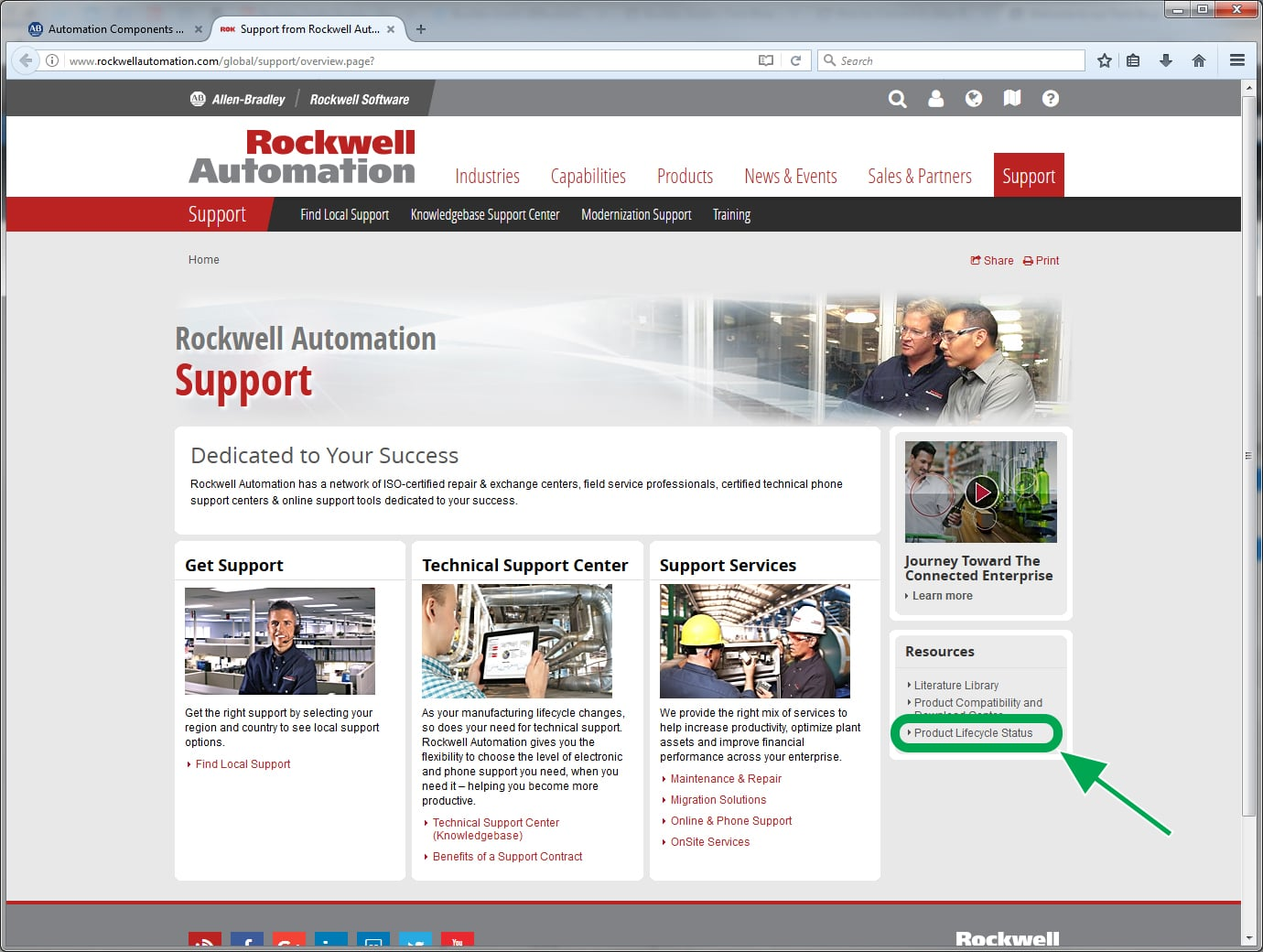 Rockwell Automation Support page