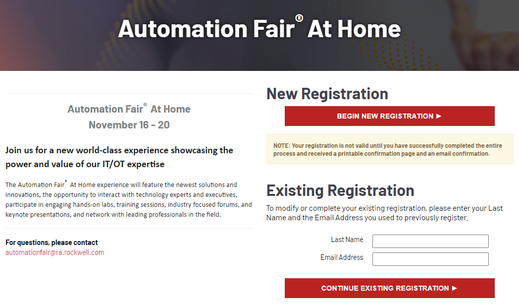 Rockwell Automation Fair At Home Signup steps 1-2