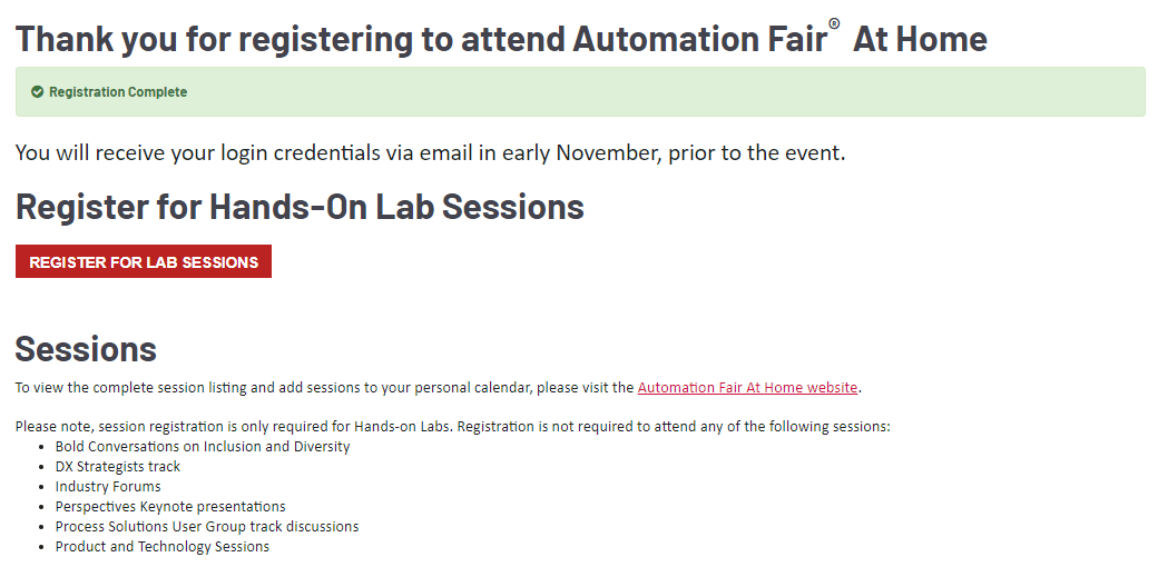 Rockwell Automation Fair At Home Signup steps 6-8